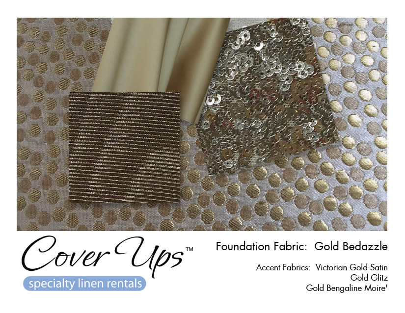 Gold Bedazzle Linen Rentals Storyboard