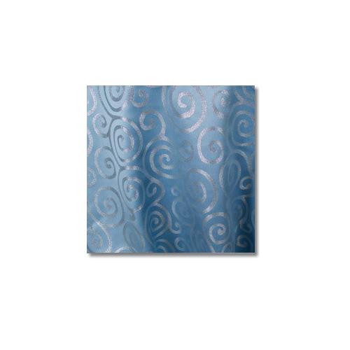 Blue Silver Metallic Scroll