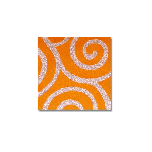 Orange Silver Metallic Scroll