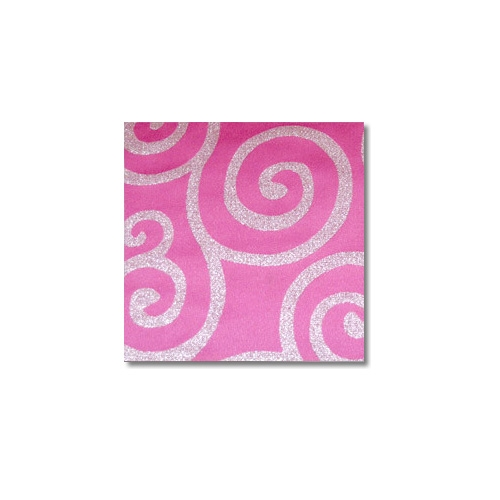 Pink Silver Metallic Scroll