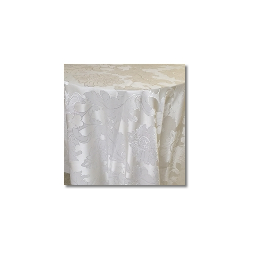 Bridal White Alex Damask Linen Rentals
