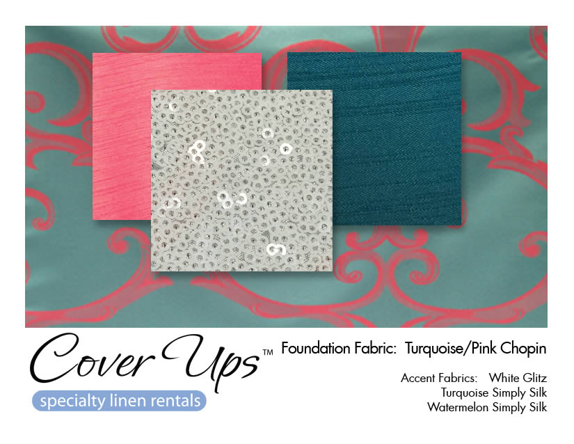Turquoise Pink Chopin Linen Rentals Storyboard