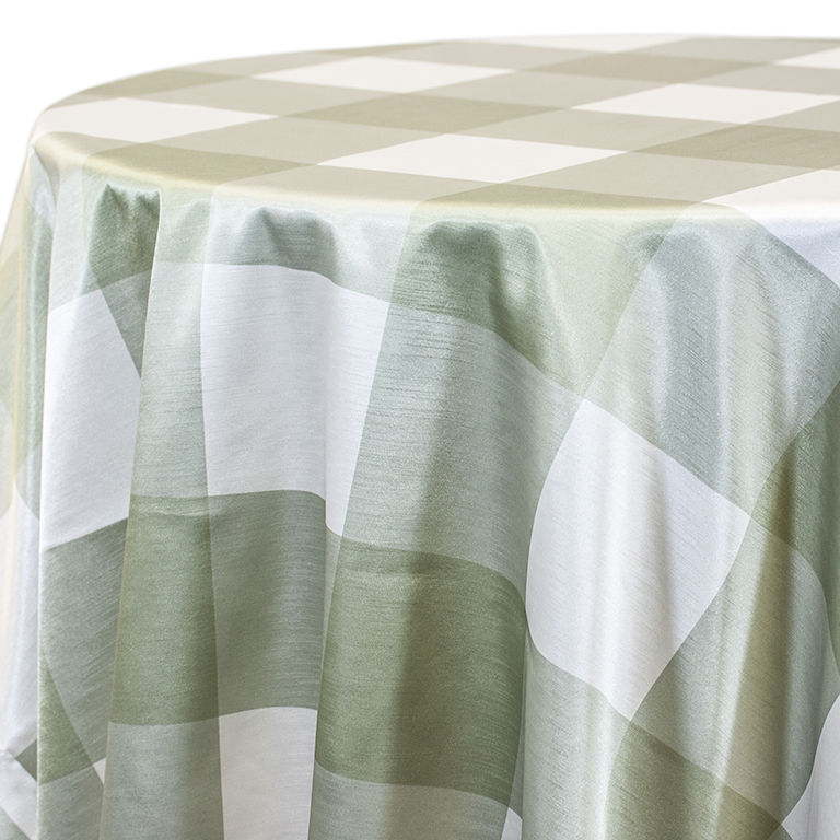Soft Green Big Plaid Linen Rentals
