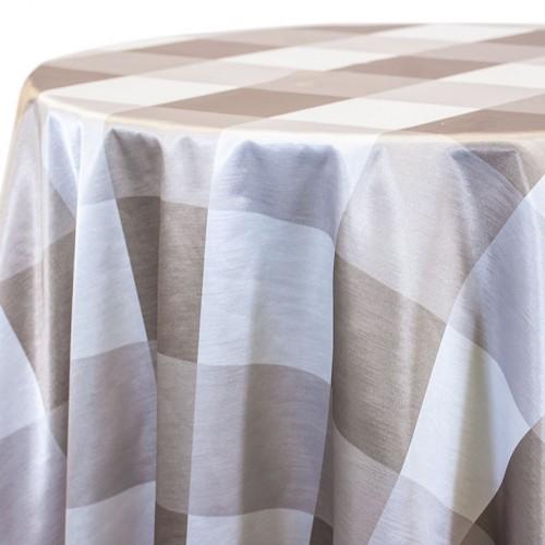 Taupe Big Plaid Linen Rentals