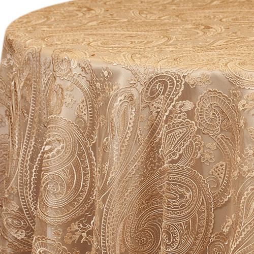 Champagne Paisley Lace Linen Rentals