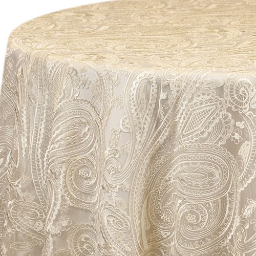 Ivory Paisley Lace Linen Rentals