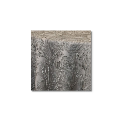 Silver Paisley Lace Linen Rentals