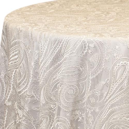 White Paisley Lace Linen Rentals